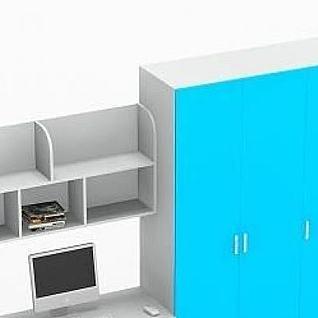 书柜衣柜组合3d模型