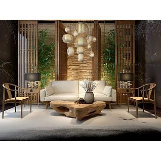 中式木头茶几沙发组合3d模型