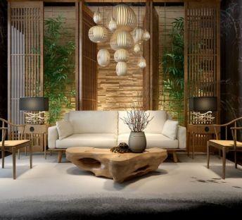中式木头茶几沙发组合