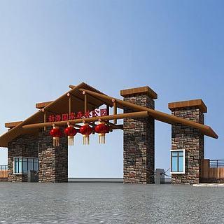景区大门入口3d模型
