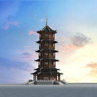 中式塔3d模型