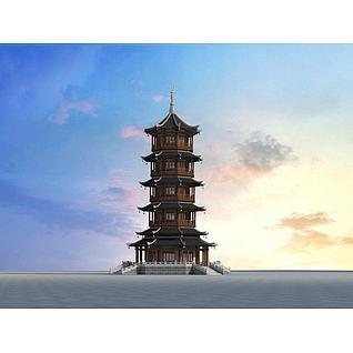 中式塔3d模型3d模型