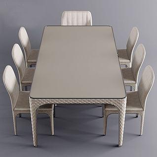 后现代餐桌椅3d模型