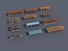 长廊花架模型3d模型