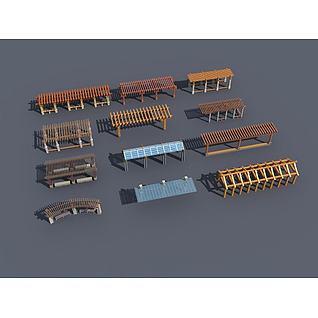 长廊花架3d模型3d模型