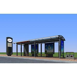 公交候车亭3d模型