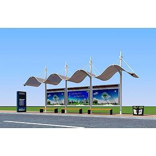 公交候车亭3d模型3d模型