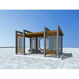 中式花架3d模型