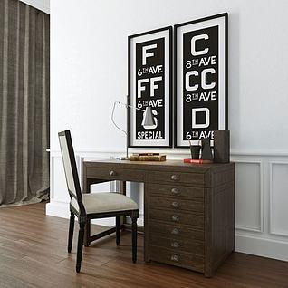 美式简约书桌椅3d模型3d模型