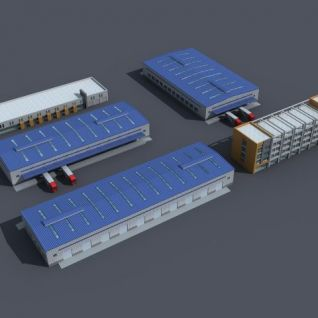 物流厂房3d模型