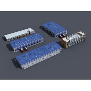 物流厂房3d模型3d模型