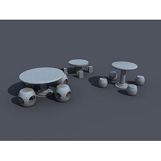 石头桌凳3d模型3d模型