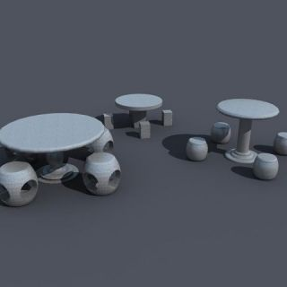 <font class='myIsRed'>石头</font>桌凳3d模型