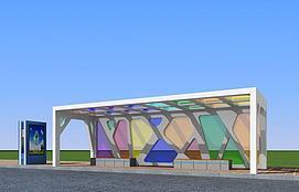 3d漂亮的公交候车亭模型