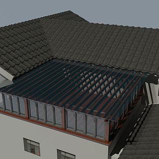 阳光房廊架3d模型