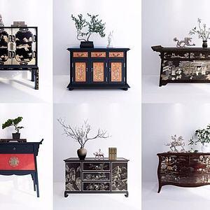 中式玄關柜干枝飾品模型3d模型