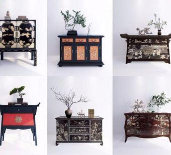 中式玄关柜干枝饰品