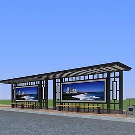 公交候车站模型