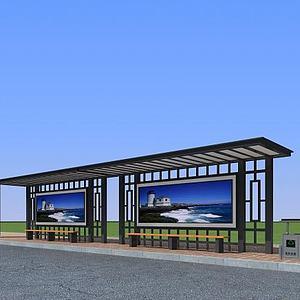 3d公交候车站模型