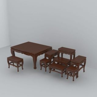 中式桌椅3d模型