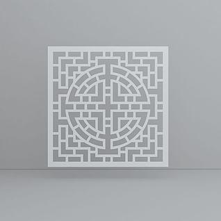 中式花格隔断3d模型