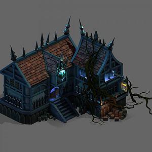 游戏场景酒馆3d模型