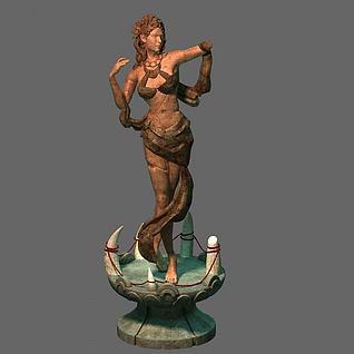 游戏场景雕塑3d模型