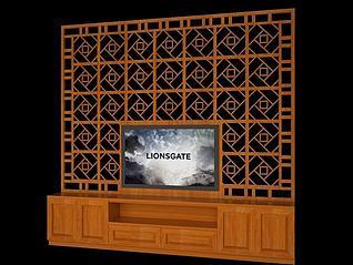 全实木电视柜3d模型