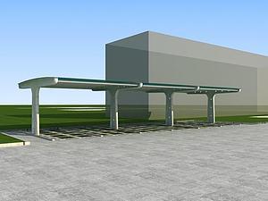 3d停車棚模型