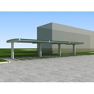 停车棚3d模型3d模型