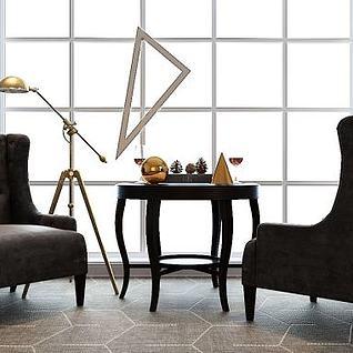 休闲沙发茶几3d模型