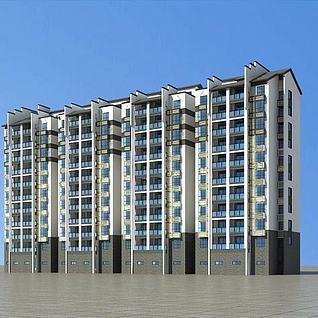 新中式住宅楼3d模型