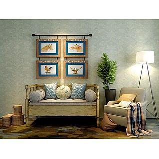 美式田园沙发挂画组合3d模型
