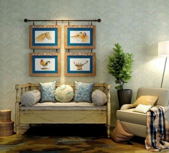 美式田园沙发挂画组合