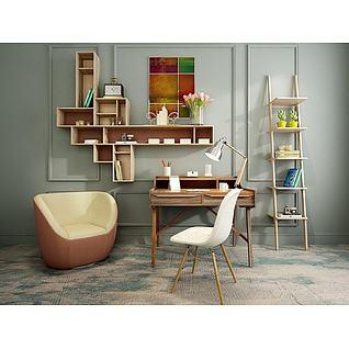 现代梯子书架单椅组合3d模型