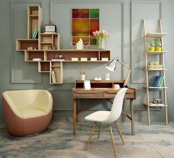 现代梯子书架单椅组合