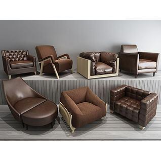 皮艺布艺单人沙发3d模型