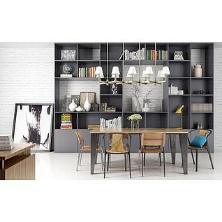 北欧书柜桌椅组合3d模型3d模型