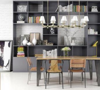 北欧书柜桌椅组合