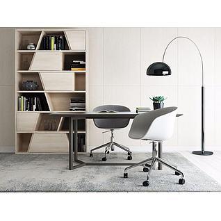 现代书房桌椅3d模型