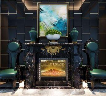 欧式壁炉休闲椅