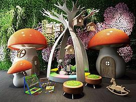 游乐场蘑菇房模型