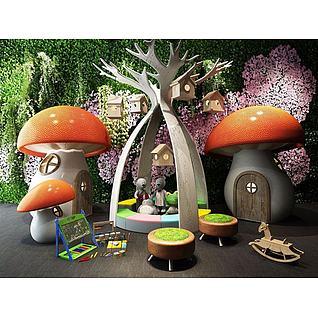 游乐场蘑菇房3d模型3d模型