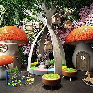 游乐场蘑菇房3d模型