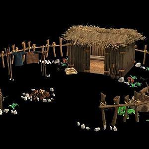 茅草院子模型3d模型