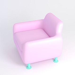 粉色单人沙发3d模型3d模型