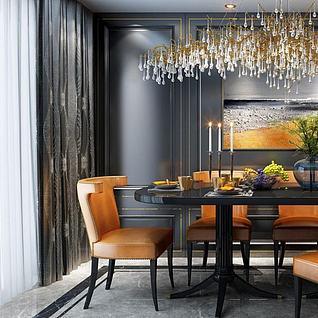 时尚餐桌椅艺术吊灯组合3d模型