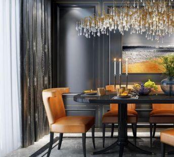 时尚餐桌椅艺术吊灯组合