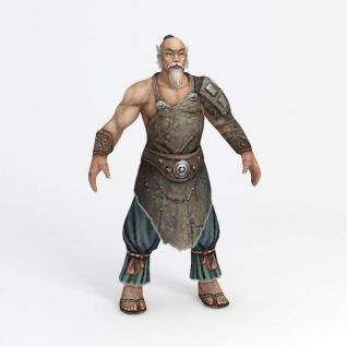 老人游戏角色3d模型