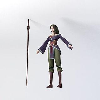 小姐游戏角色3d模型